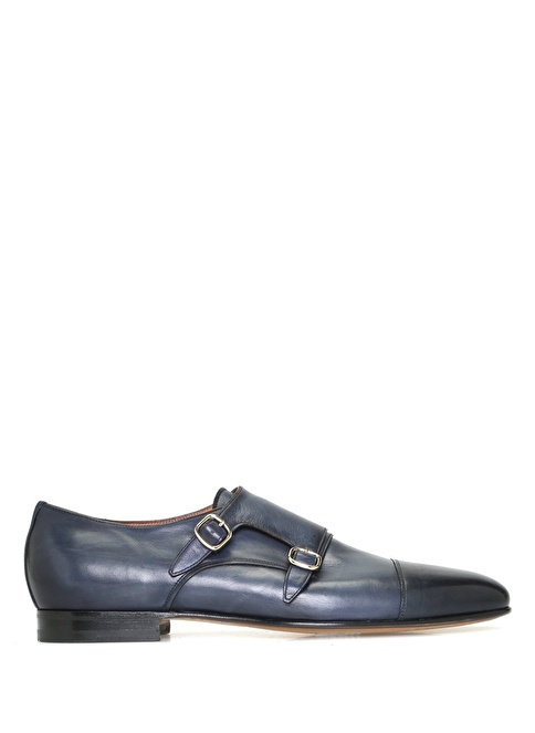Santoni %100 Deri Çift Tokalı Klasik Ayakkabı Mavi